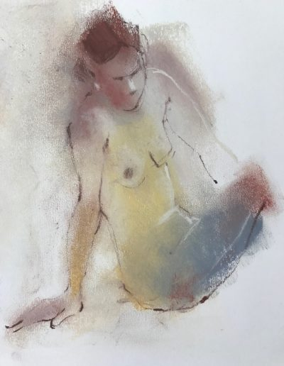 'Sitting'  Pastel and conte crayon