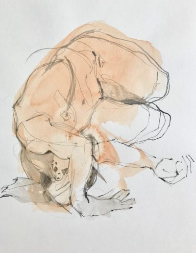 'Arm over head' Watercolour and pencil sketch