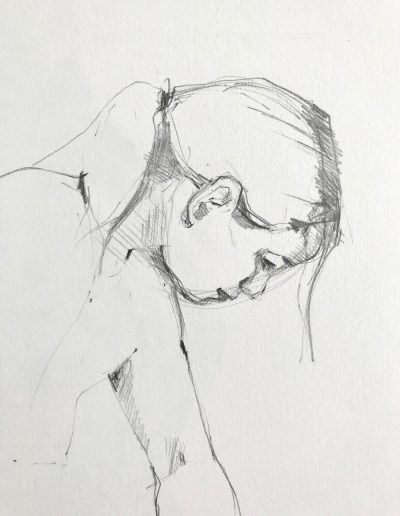 'Looking down' Pencil sketch