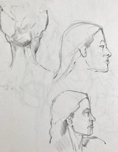 'Woman with plait' Pencil study