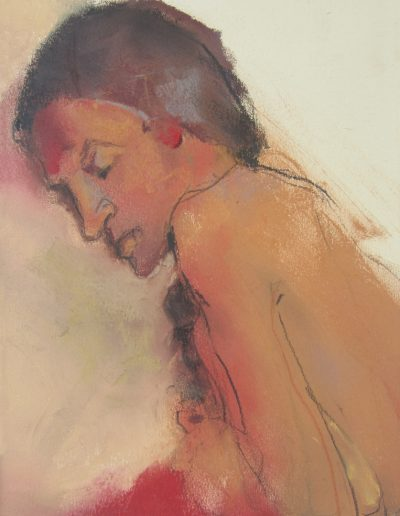 'Thinking' Pastel on coloured paper