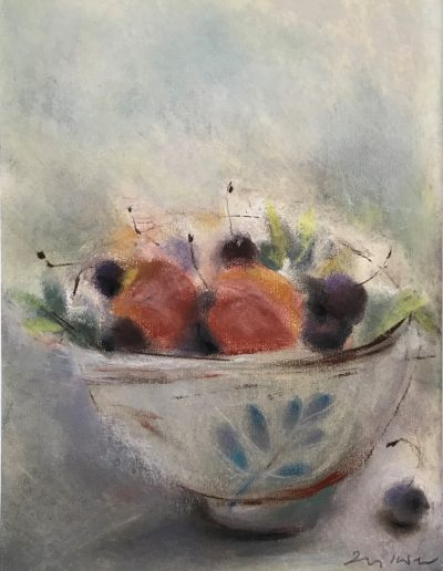 'Summer fruit in a Chinese bowl'. Pastel