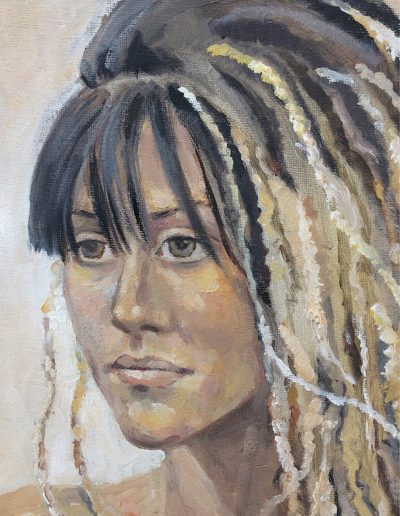 'Girl with dreads' Oil on canvas