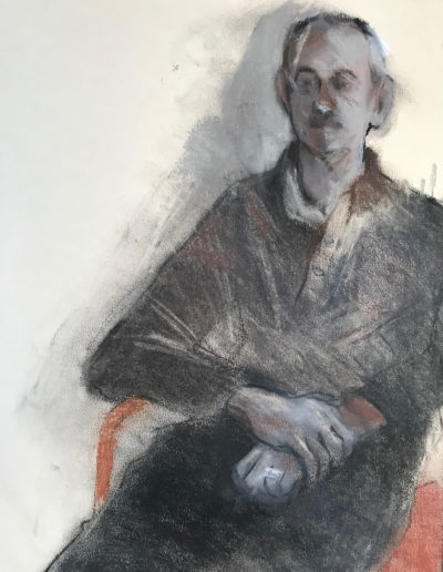 'David - seated' Conte and Pastel
